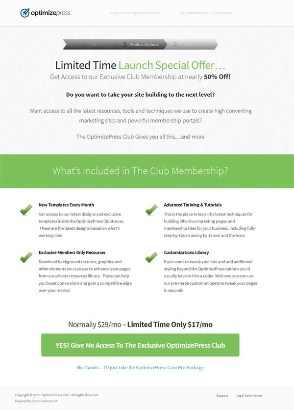 optimizepress 2.0 club membership discount
