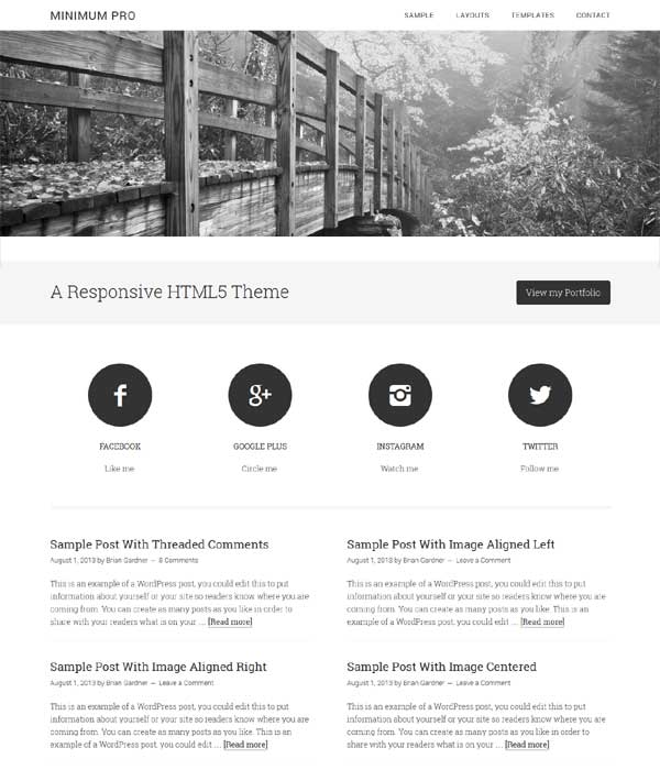 minimum pro portfolio child theme