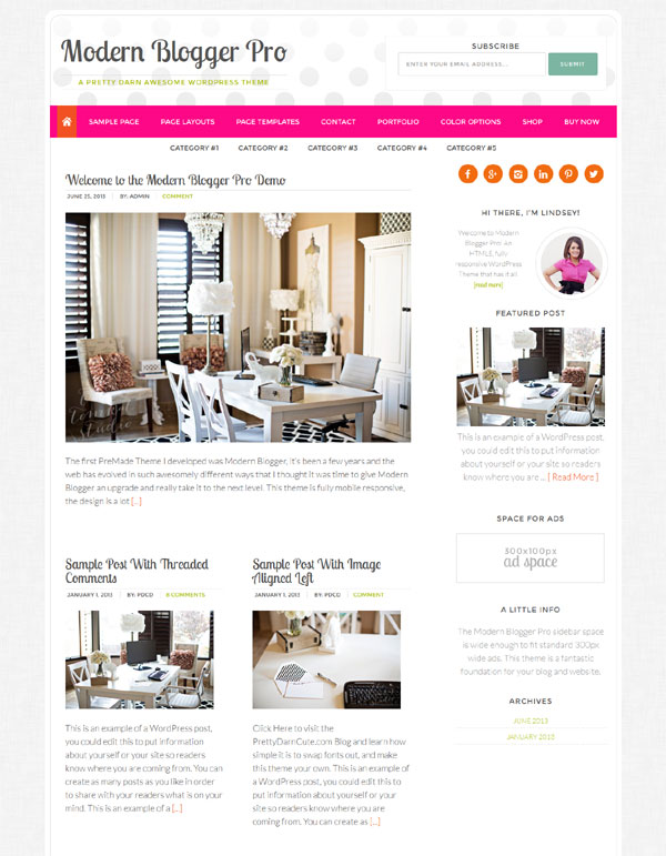 modern blogger pro child theme